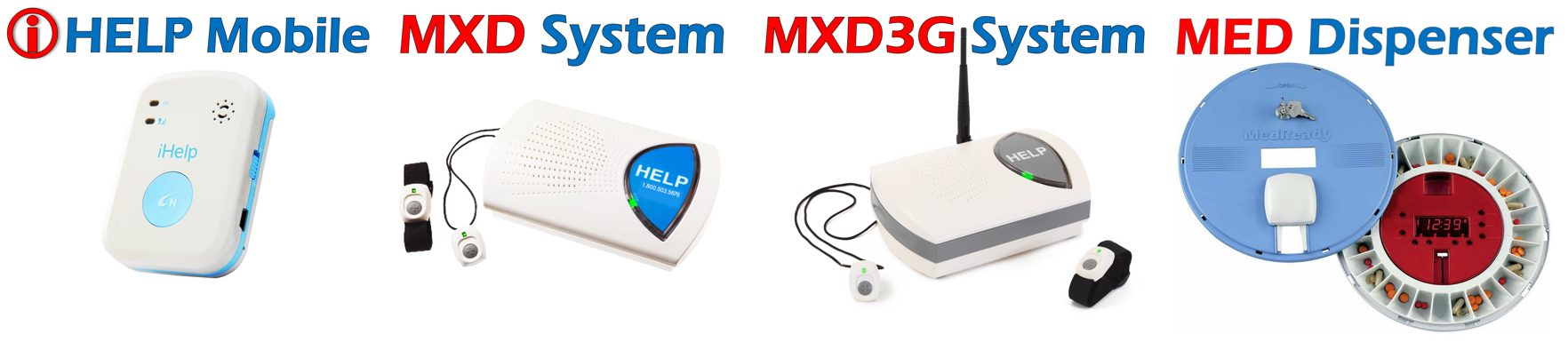 alerts911 products list, iHelp Mobile, MXD, MXD3G, Med Dispenser, personal emergency response systems